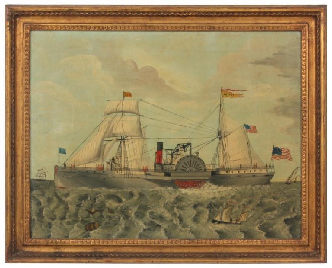 Wonderful O/C Paddle Wheel Ship Painting