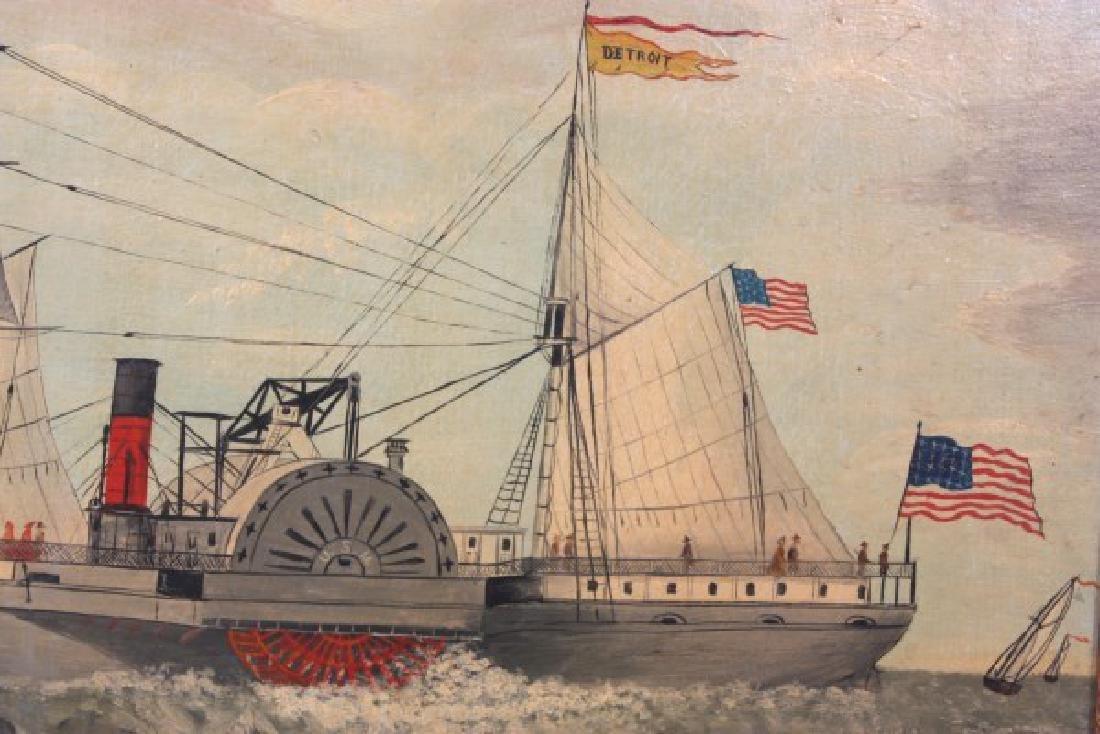 Wonderful O/C Paddle Wheel Ship Painting - 3