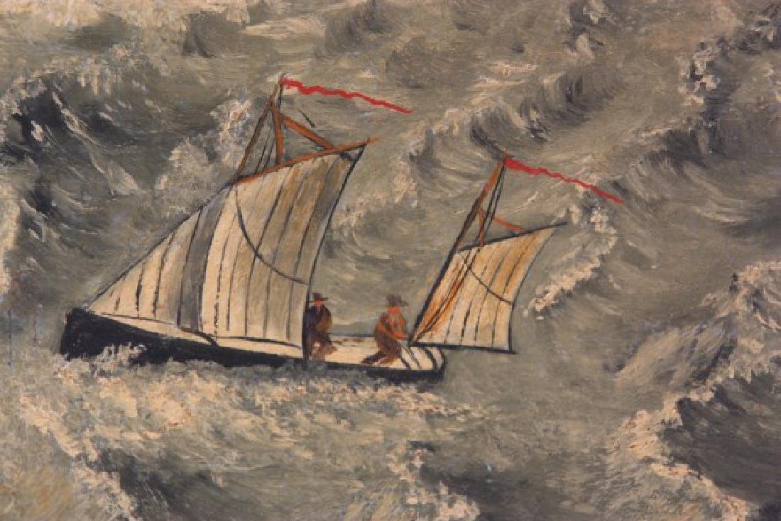 Wonderful O/C Paddle Wheel Ship Painting - 4