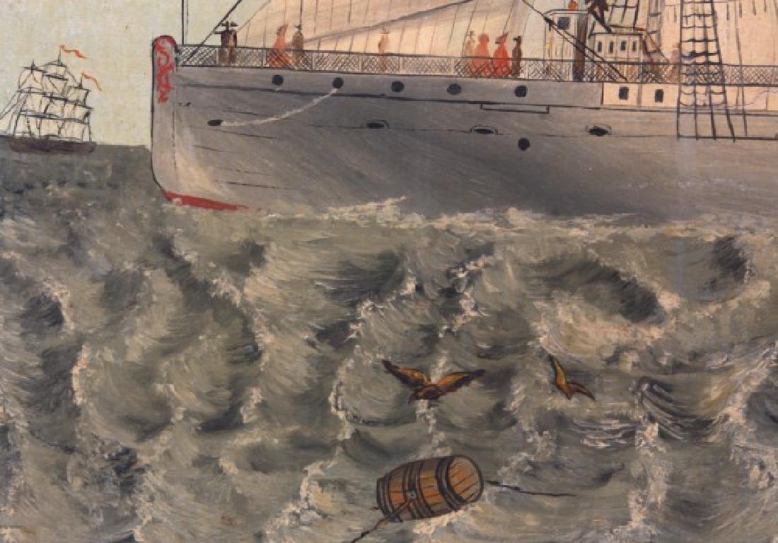 Wonderful O/C Paddle Wheel Ship Painting - 5