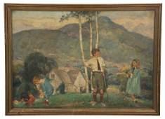 Herbert Meyer O/C Landscape w/ Children