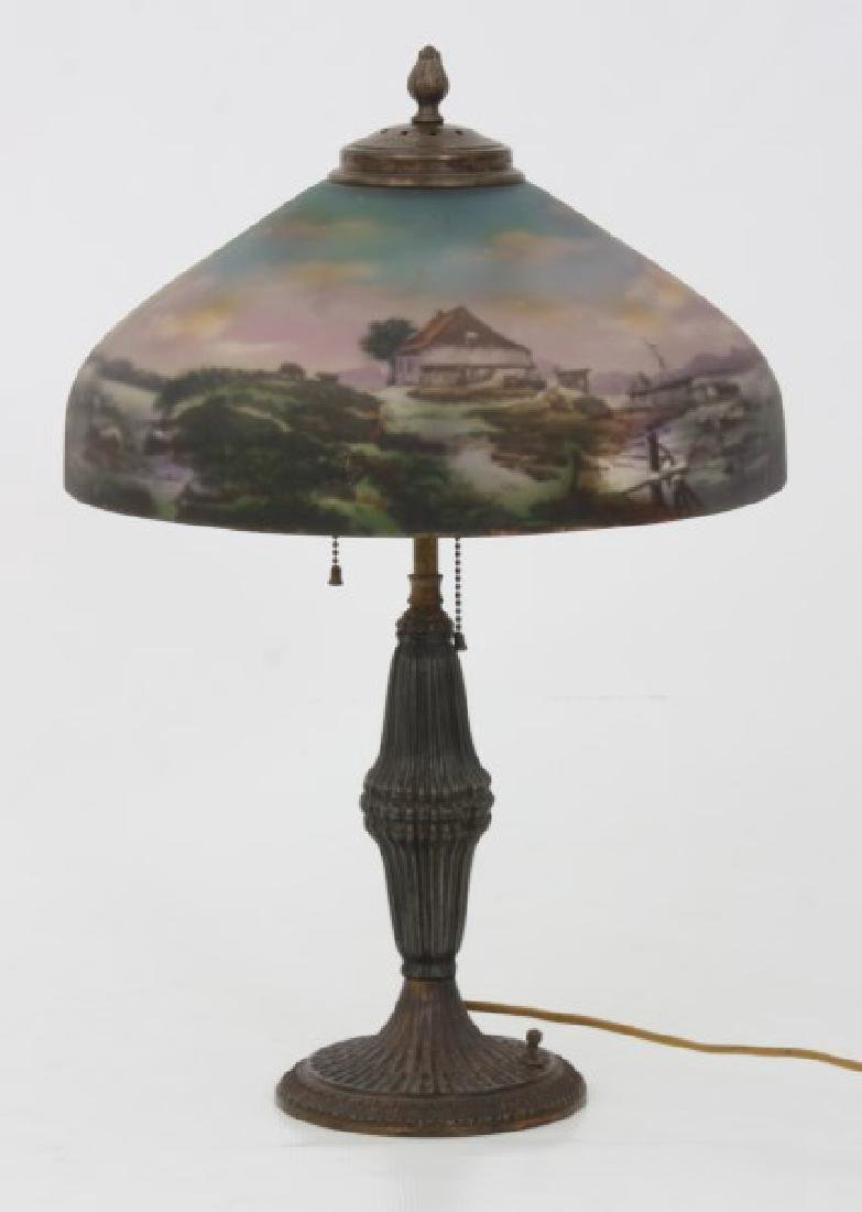 14 in. Pittsburgh Reverse Painted Table Lamp - 10