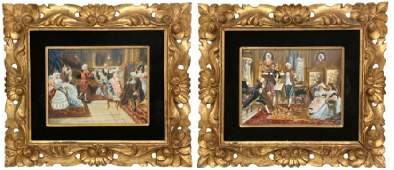 Pr. Hand Painted Italian Genre Scenes