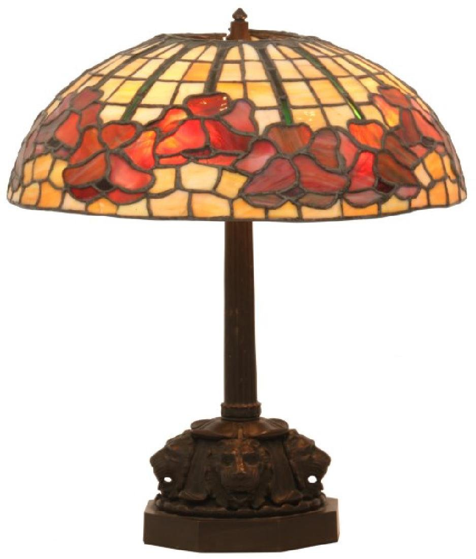 15.5 in. Leaded Floral Table Lamp