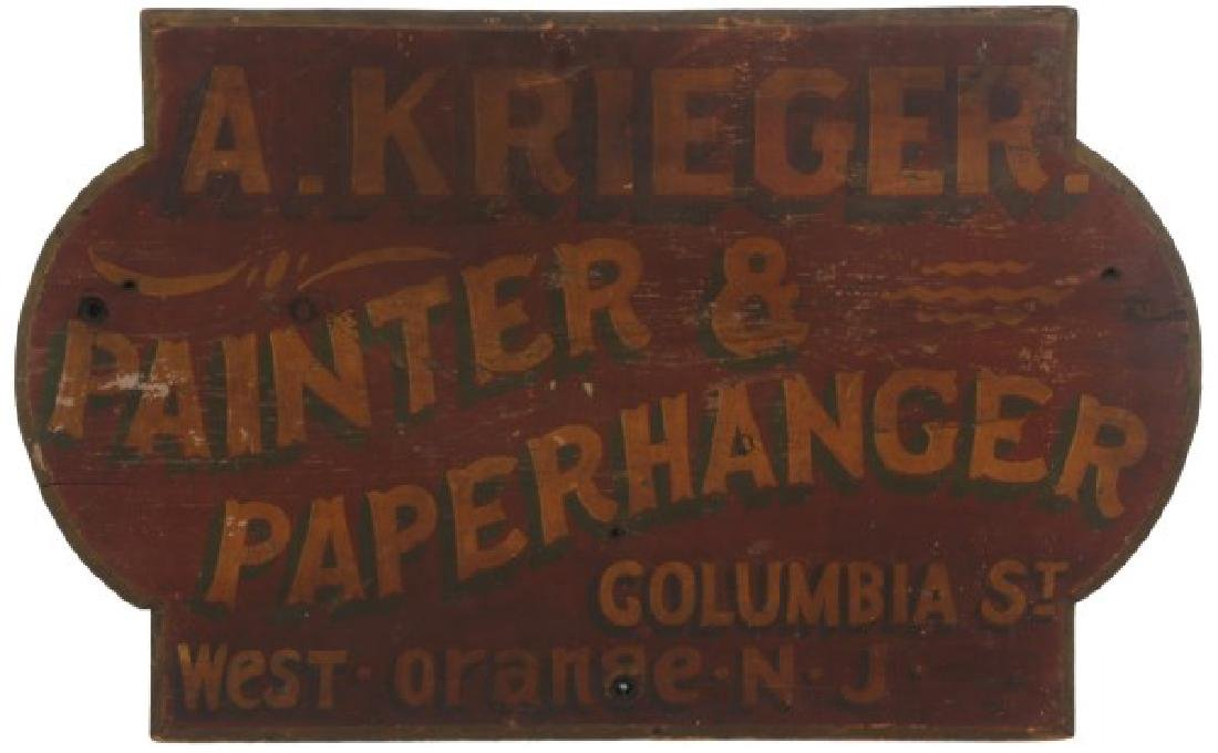 Hand Painted Paper & Paperhanger Wooden Sign