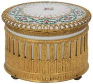 French Porcelain  Brass Musical Jewelry Box