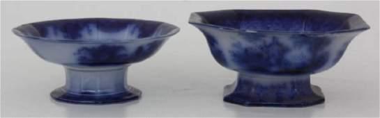 5 Flow Blue Pedestal Bowls