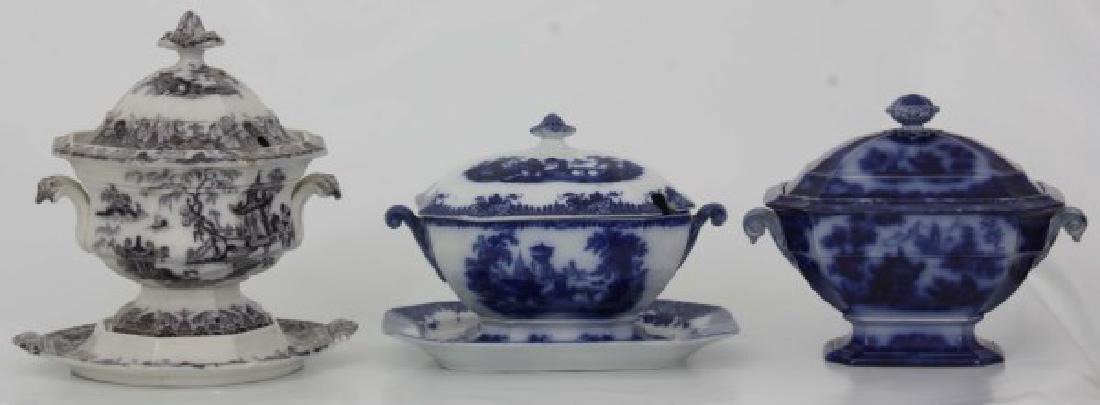 3 Pcs. Flow Blue and Transfer Soup Tureens