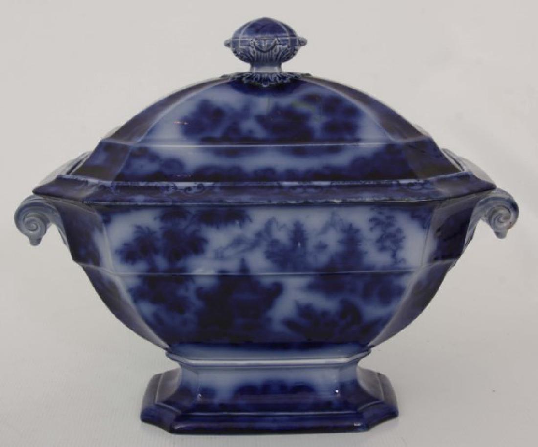 3 Pcs. Flow Blue and Transfer Soup Tureens - 2