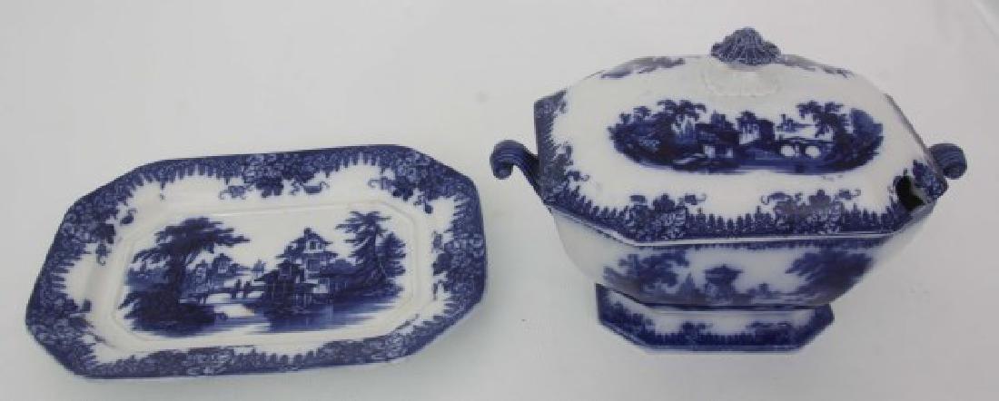 3 Pcs. Flow Blue and Transfer Soup Tureens - 4