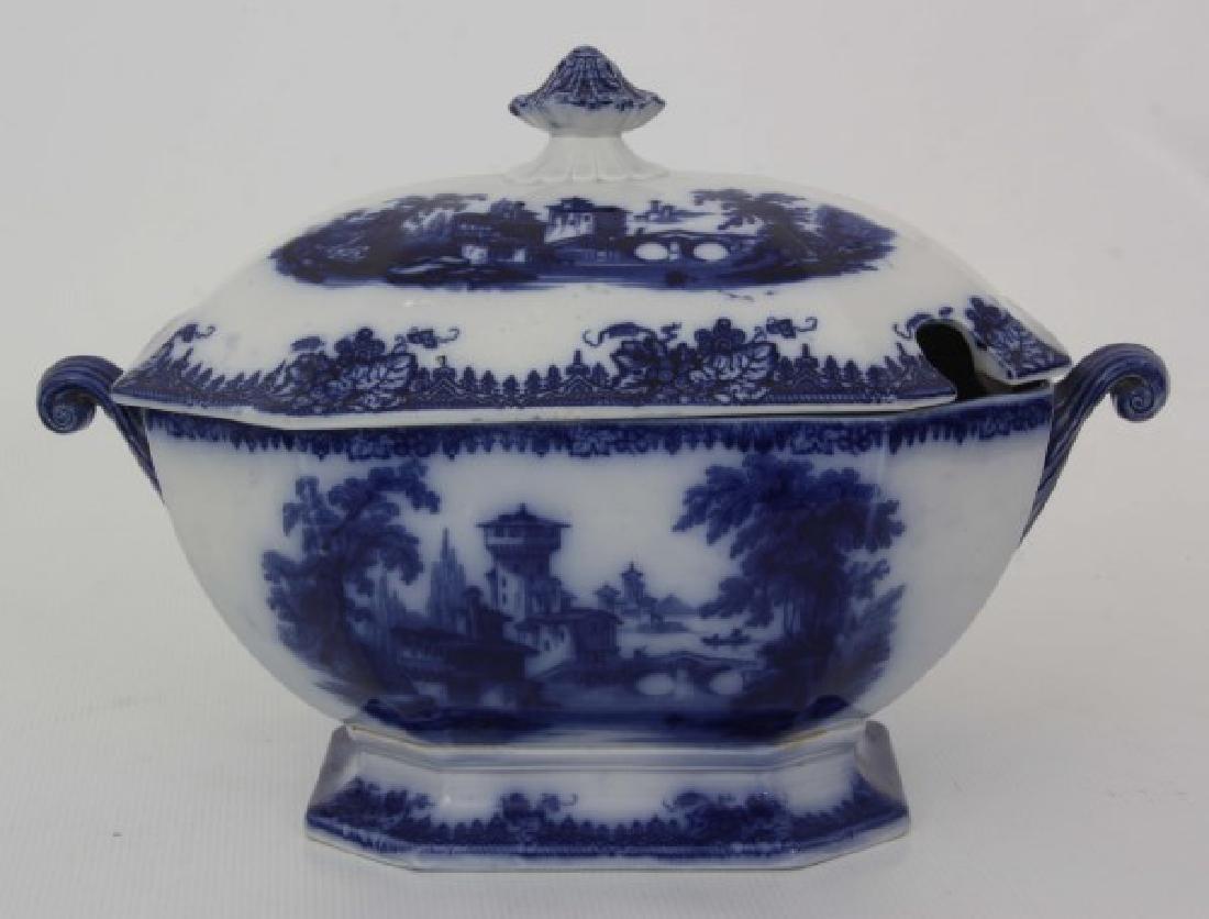 3 Pcs. Flow Blue and Transfer Soup Tureens - 6