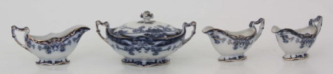 116 Pcs. Staffordshire Flow Blue – Iris Pattern - 3