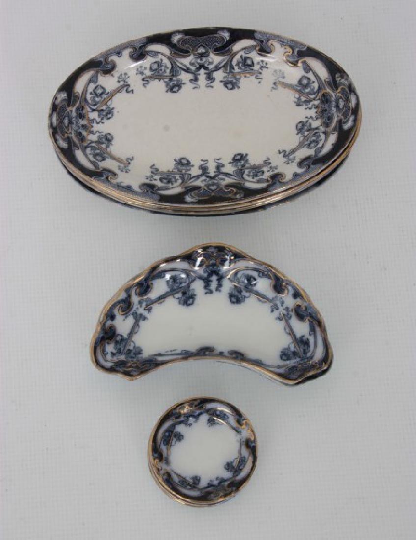 116 Pcs. Staffordshire Flow Blue – Iris Pattern - 4