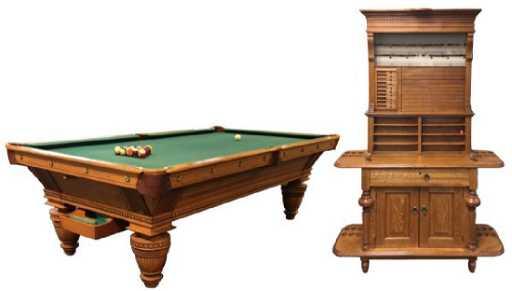 Oak Brunswick Pool Table W Cue Rack - Brunswick oak pool table