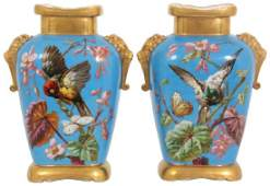 Pr Quality Hand Painted Porcelain Bird Vases