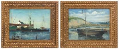 2 Xavier Barile Ship Oil Paintings
