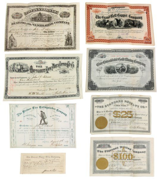 31 Early Stock Certificates c.1880s