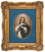 Hand Painted Porcelain Plaque - Virgin Mary