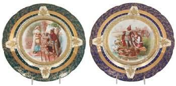 Pr. Austrian Genre Scene Porcelain Plates