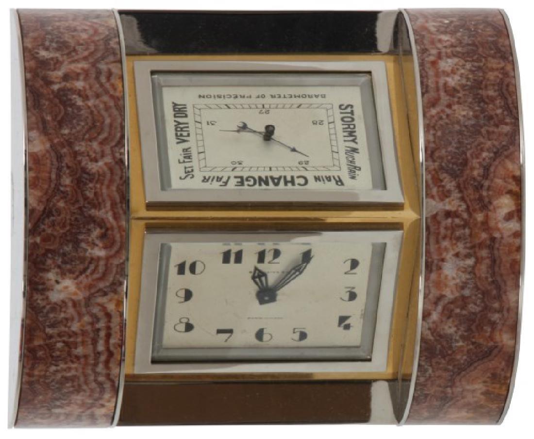 Marble & Chrome Deco Desk Clock - 2