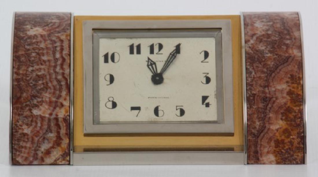 Marble & Chrome Deco Desk Clock - 3