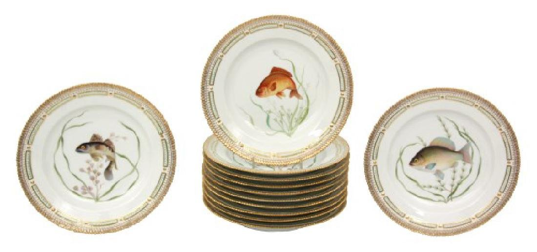 12 Royal Copenhagen Flora Danica Fish Plates