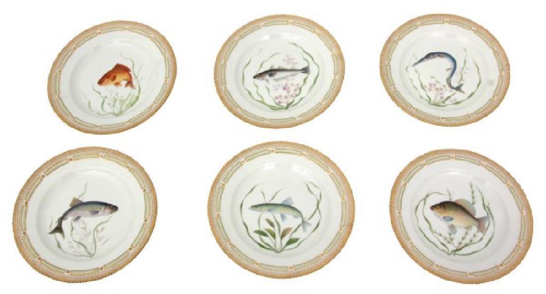 12 Royal Copenhagen Flora Danica Fish Plates - 4