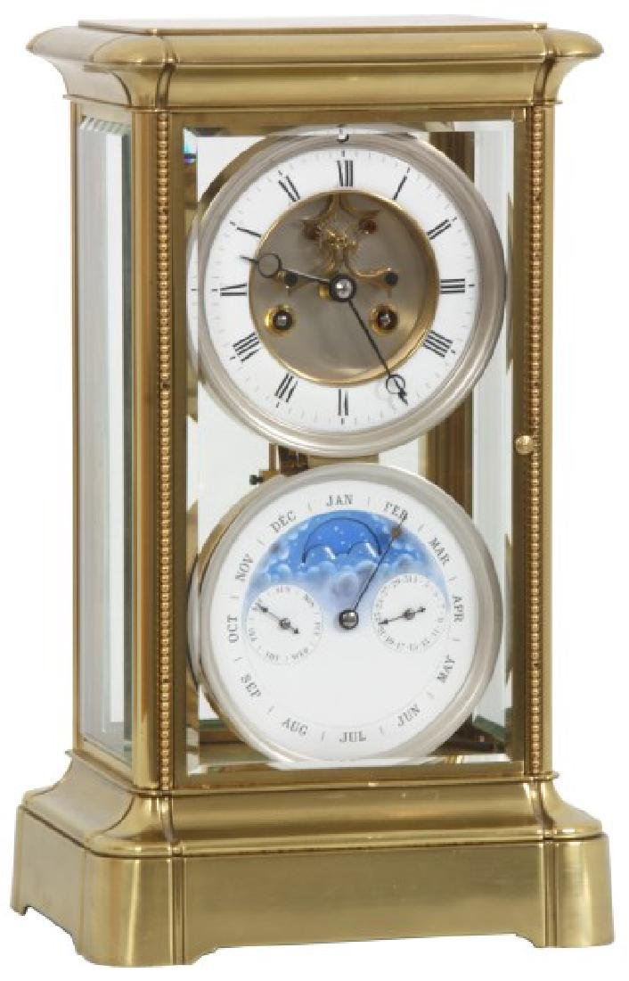 Brass Crystal Regulator Calendar Clock