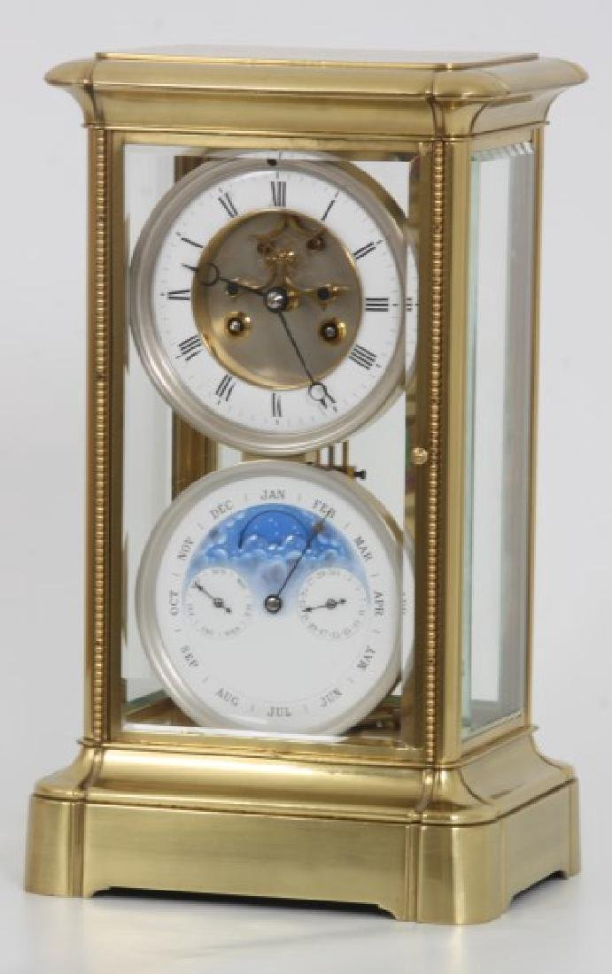 Brass Crystal Regulator Calendar Clock - 2