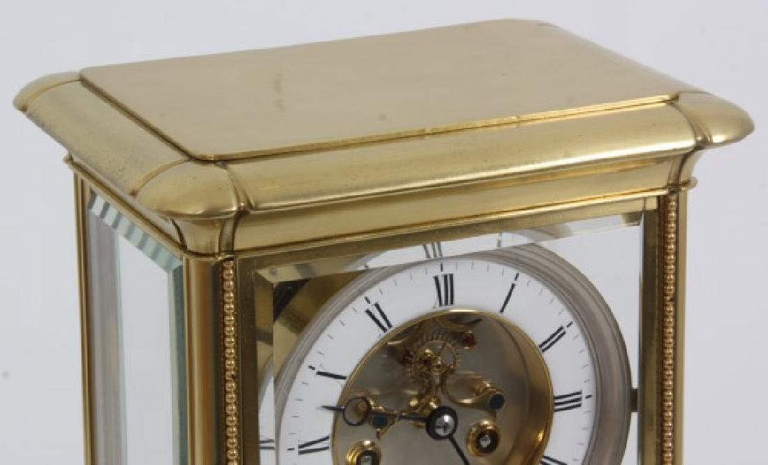 Brass Crystal Regulator Calendar Clock - 3