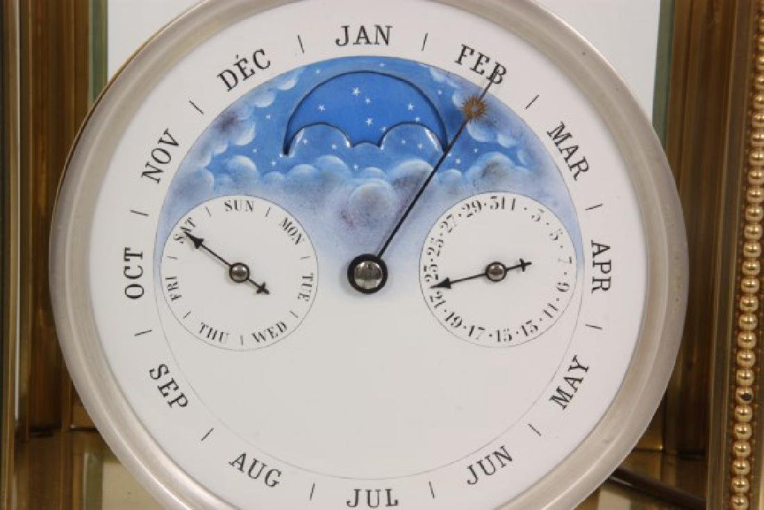 Brass Crystal Regulator Calendar Clock - 5