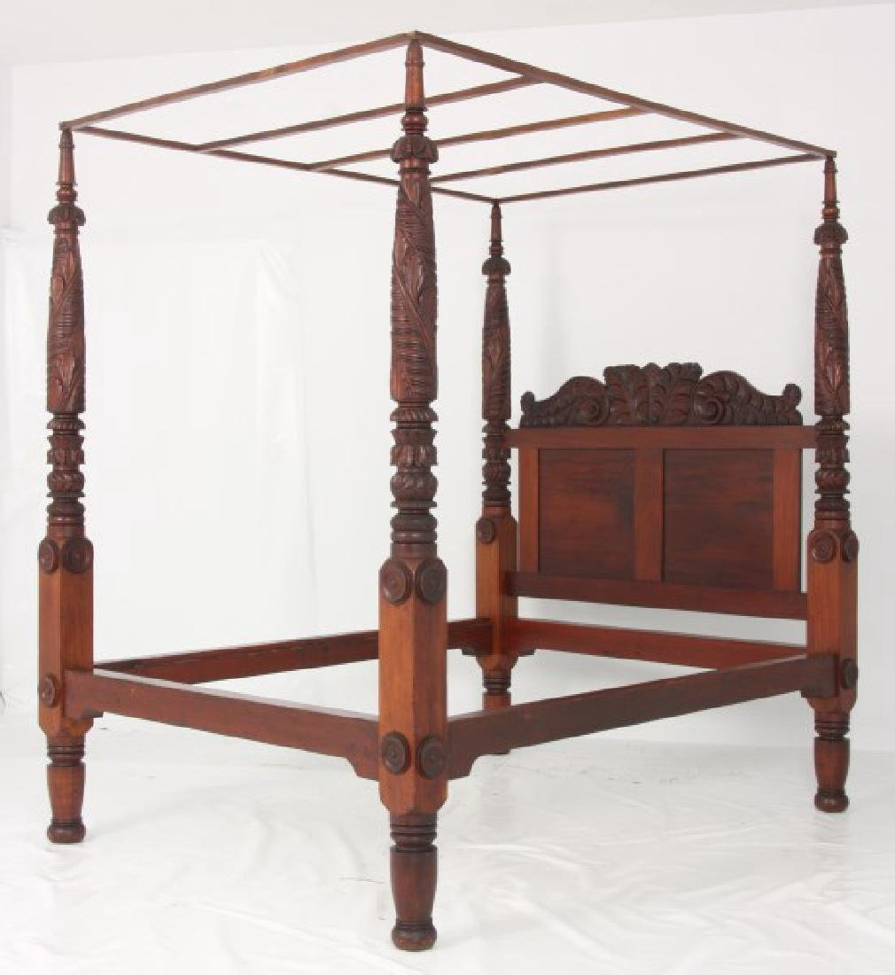 Acanthus Carved Mahogany 4 Poster Tester Bed - 10