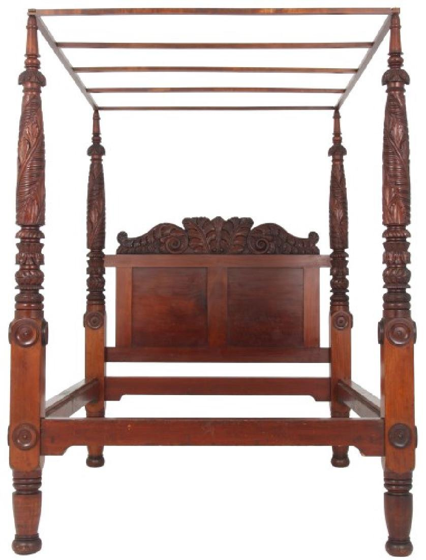 Acanthus Carved Mahogany 4 Poster Tester Bed