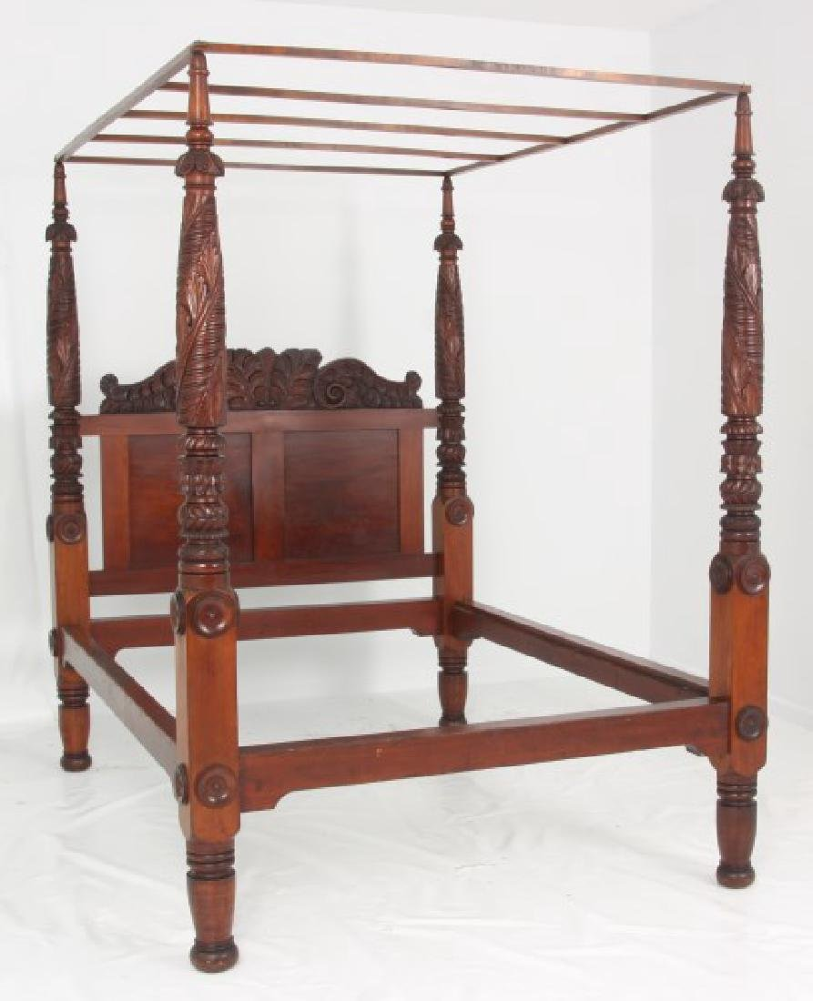 Acanthus Carved Mahogany 4 Poster Tester Bed - 2