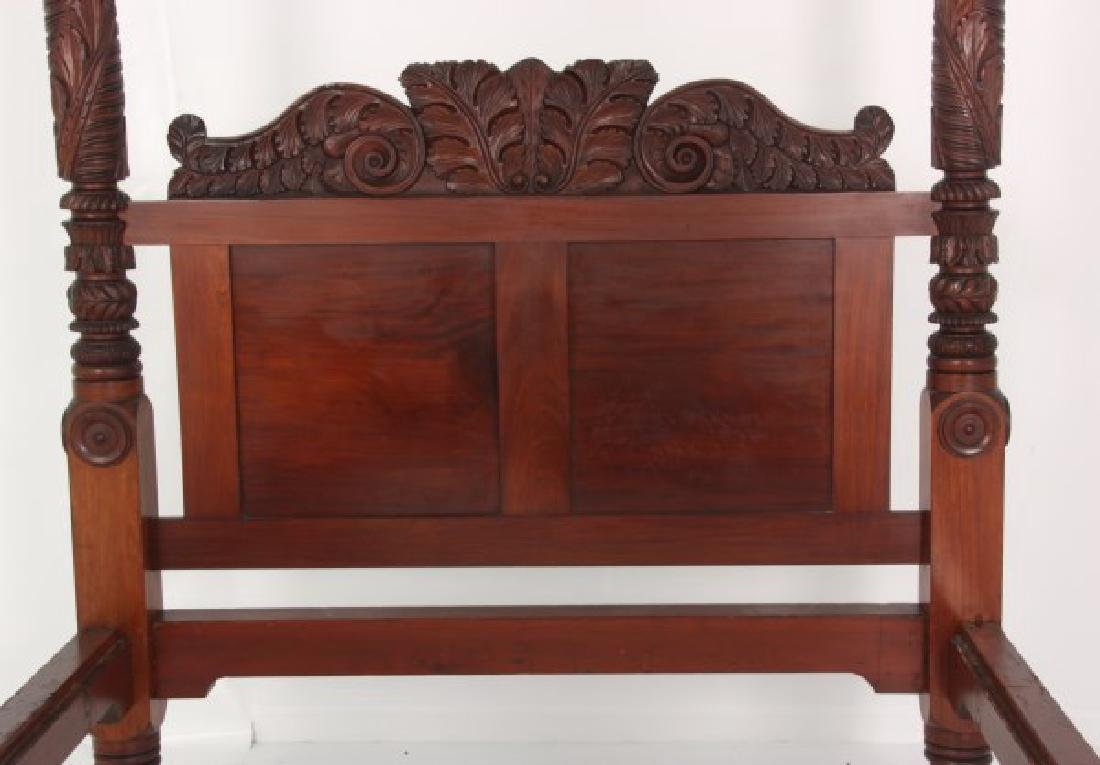 Acanthus Carved Mahogany 4 Poster Tester Bed - 3