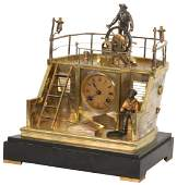 Animated French Industrial Quarter Deck Clock