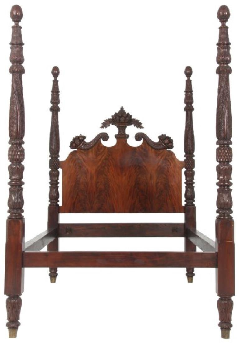 Excellent Acanthus Carved Mahogany 4 Poster Bed
