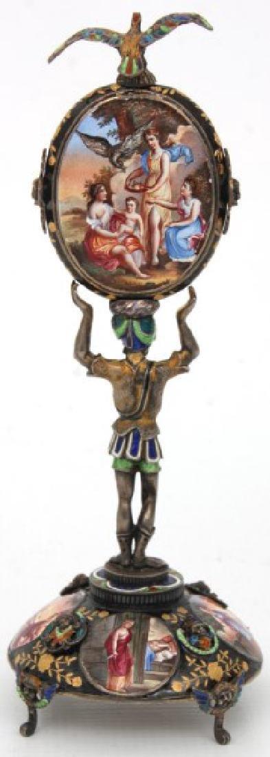 Figural Silver & Enamel Novelty Clock - 2