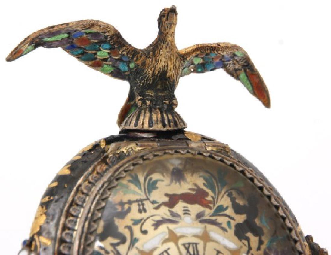 Figural Silver & Enamel Novelty Clock - 3