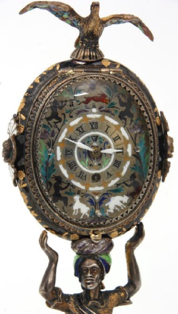 Figural Silver & Enamel Novelty Clock - 5