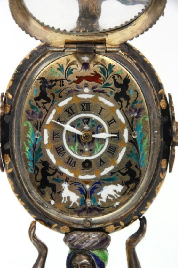 Figural Silver & Enamel Novelty Clock - 6