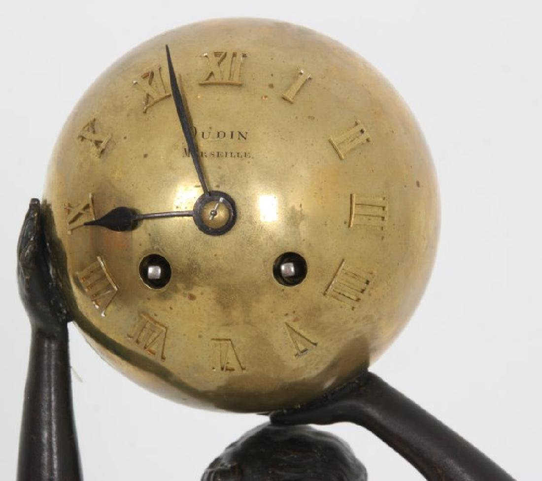 French Figural Bronze Standing Ball Clock - 2