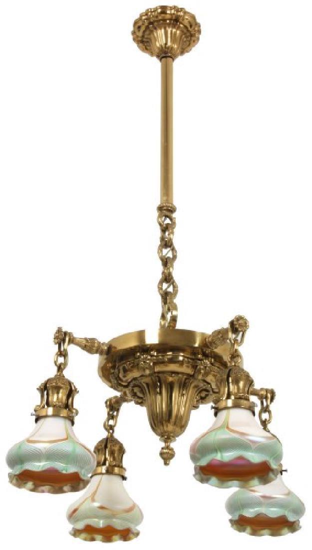 4 Light Brass Hanging Fixture w/ Steuben Shades