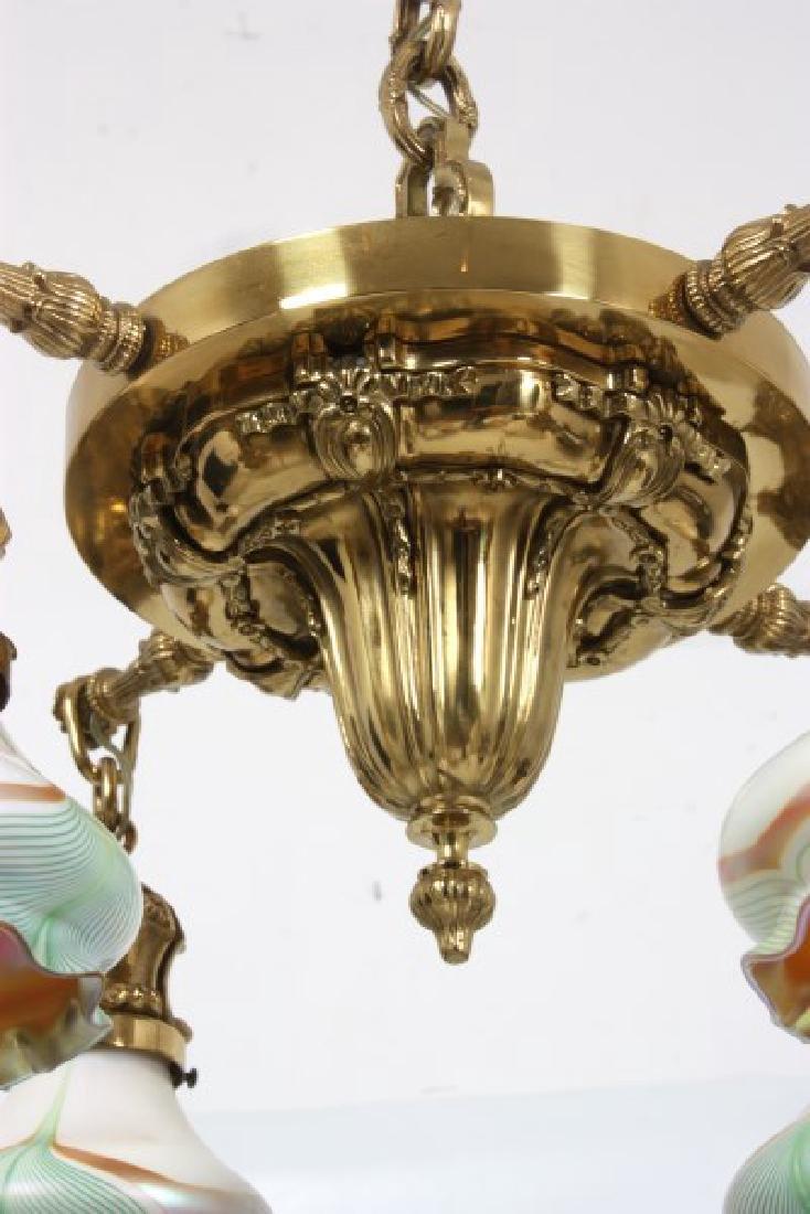 4 Light Brass Hanging Fixture w/ Steuben Shades - 6