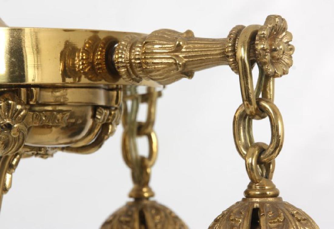 4 Light Brass Hanging Fixture w/ Steuben Shades - 7