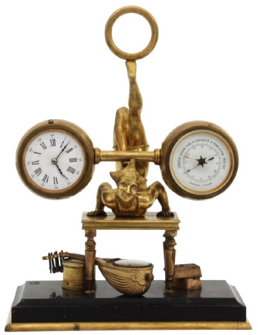 French Figural Bronze Clock & Barometer
