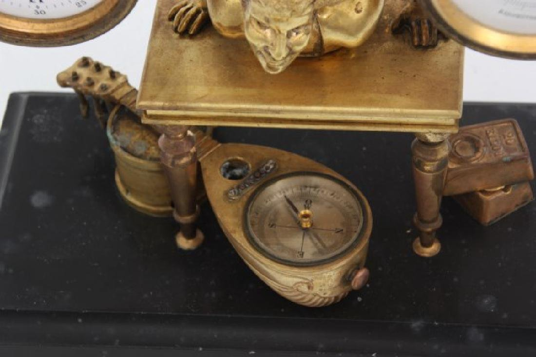 French Figural Bronze Clock & Barometer - 7