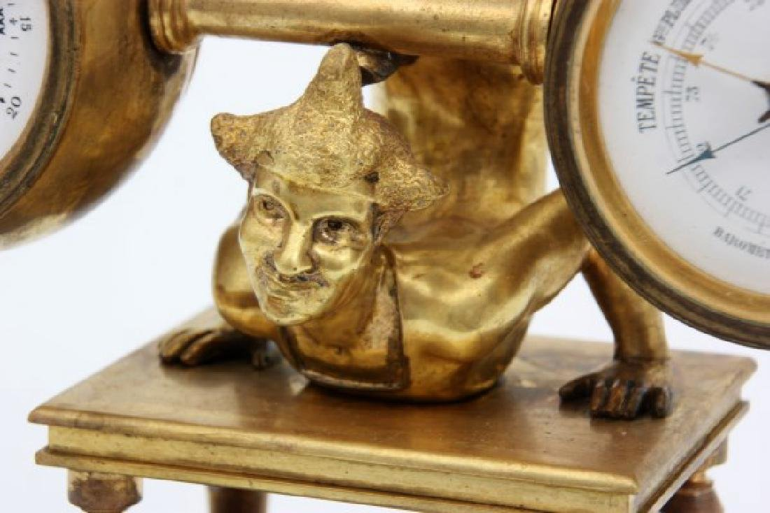 French Figural Bronze Clock & Barometer - 8