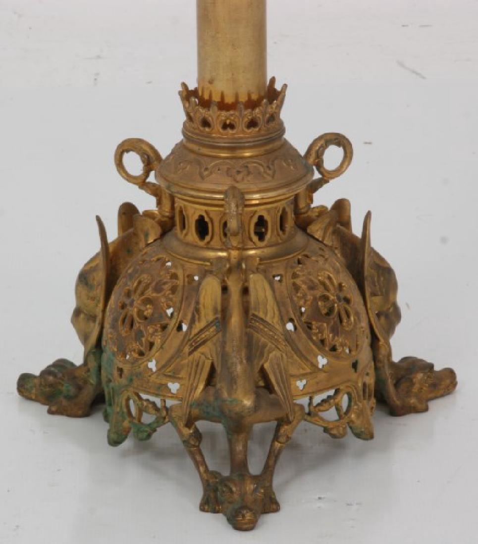 Gothic Gilt Bronze Floor Standing Candleabra - 2