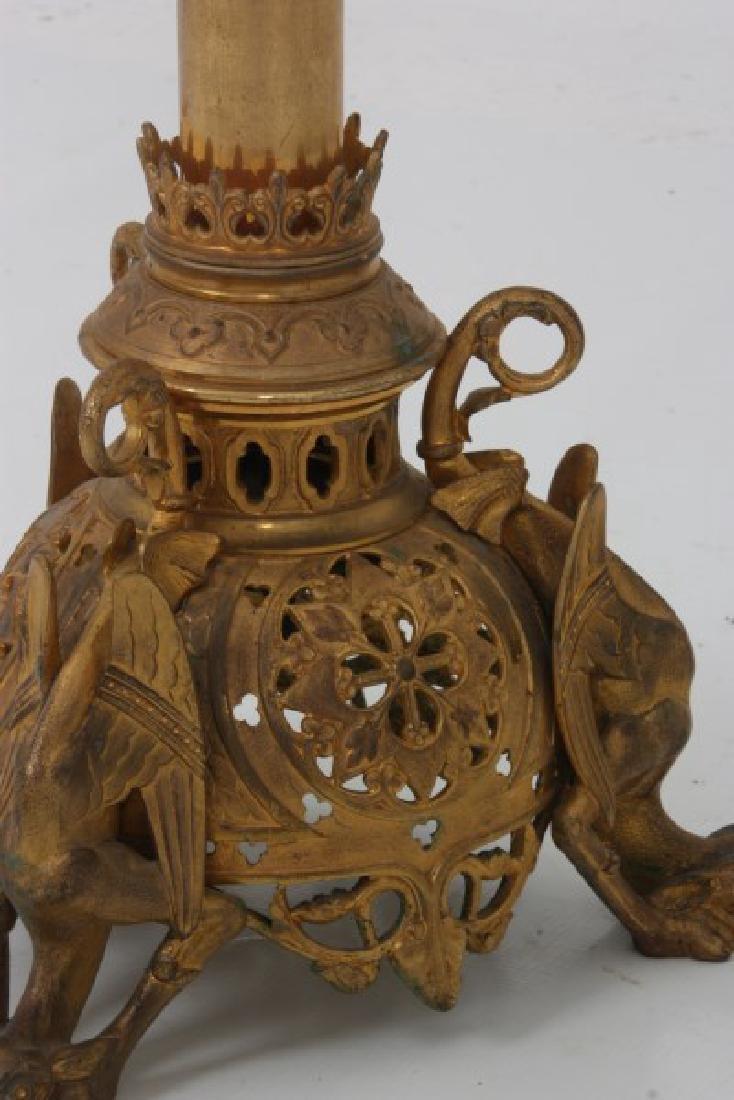 Gothic Gilt Bronze Floor Standing Candleabra - 4